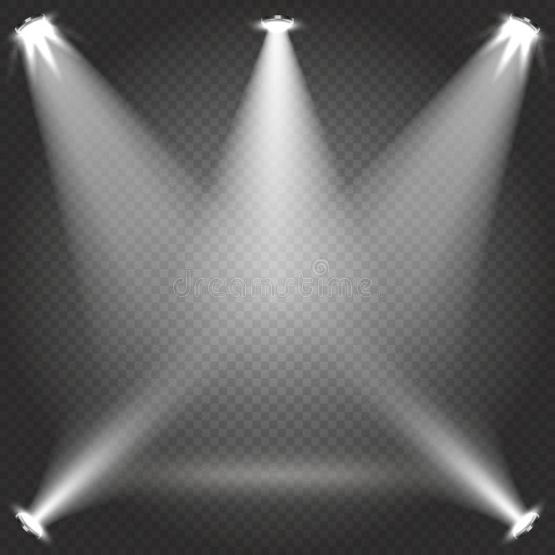 La iluminación de etapa con el proyector transparente blanco emite en el ejemplo del vector del contexto de la tela escocesa stock de ilustración