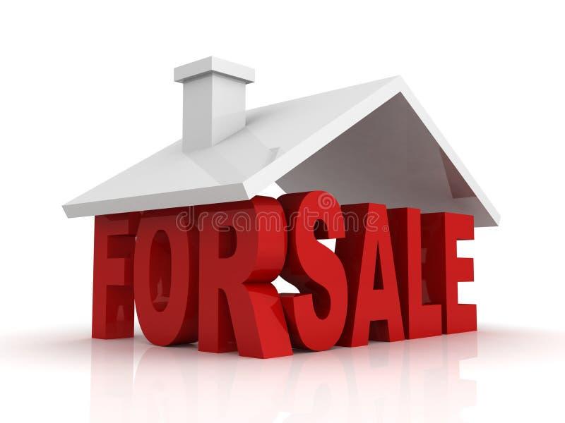 la ilustración 3d de la casa para la venta firma encima blanco ilustración del vector