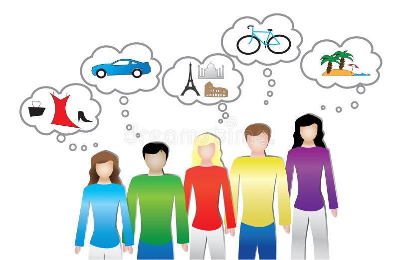 La ilustración de la gente o del consumidor necesita y quiere ilustración del vector