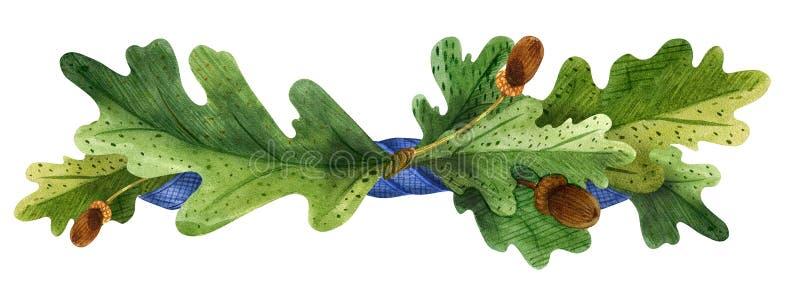 La ilustración del roble se va con la cinta de seda azul libre illustration