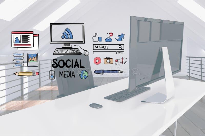 La imagen compuesta de Digitaces de medios sociales firma encima el escritorio del ordenador foto de archivo