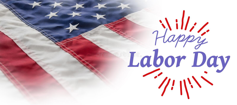 La imagen compuesta de la imagen compuesta digital del Día del Trabajo feliz y dios bendicen el texto de América stock de ilustración
