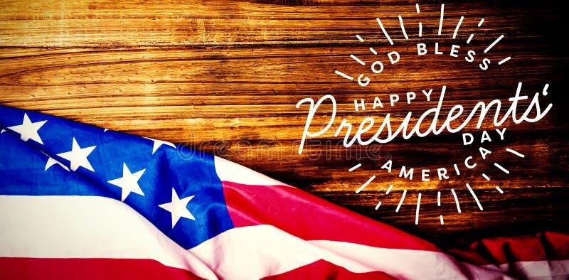 La imagen compuesta de dios bendice América Día feliz de los presidentes tipografía foto de archivo