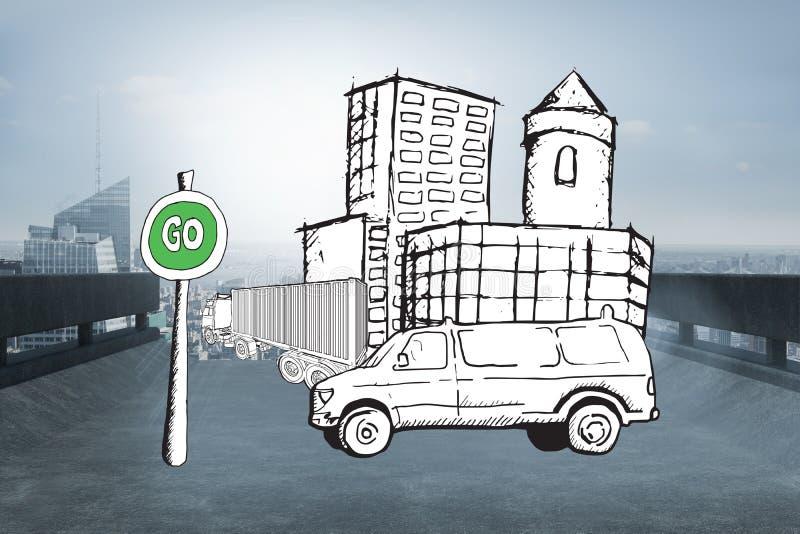 La imagen compuesta de la furgoneta en la calle con va garabato de la muestra imagenes de archivo