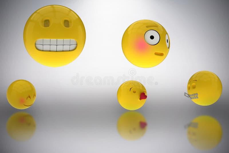 La imagen compuesta de la imagen tridimensional de diversos smiley hace frente a las reacciones 3d libre illustration