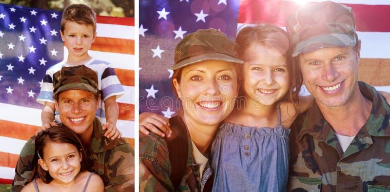 La imagen compuesta de la pareja del soldado se juntó con su hija imágenes de archivo libres de regalías