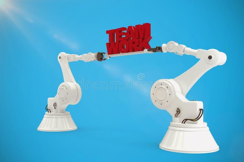 La imagen compuesta de las manos mecánicas que detienen al equipo trabaja el mensaje en el fondo blanco libre illustration