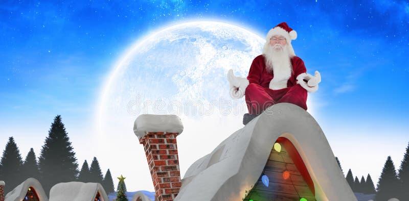 La imagen compuesta de Papá Noel se sienta y medita fotografía de archivo