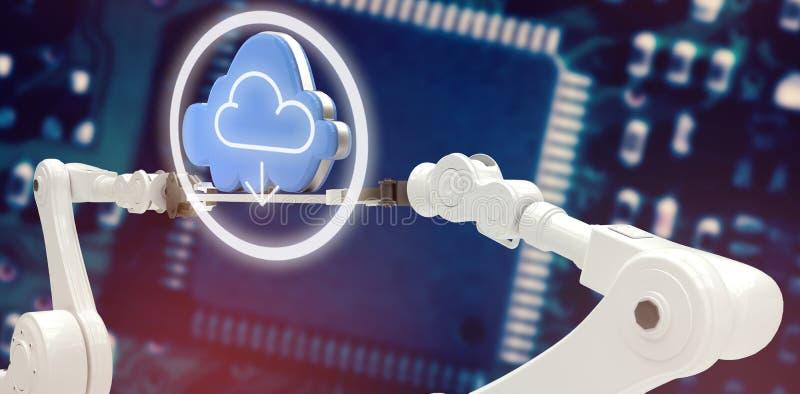 La imagen compuesta del icono de la nube con la flecha firma adentro el círculo ilustración del vector