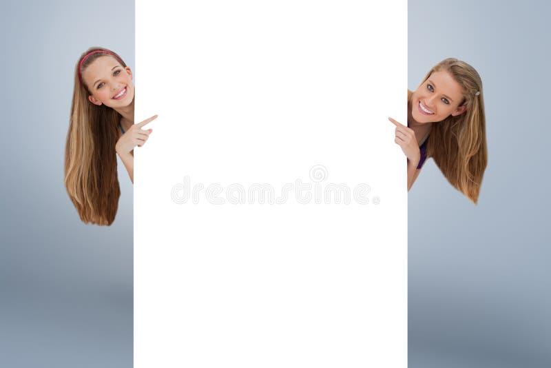 La imagen compuesta del retrato de las mujeres largas del pelo del wo apoya de una muestra en blanco imagen de archivo libre de regalías