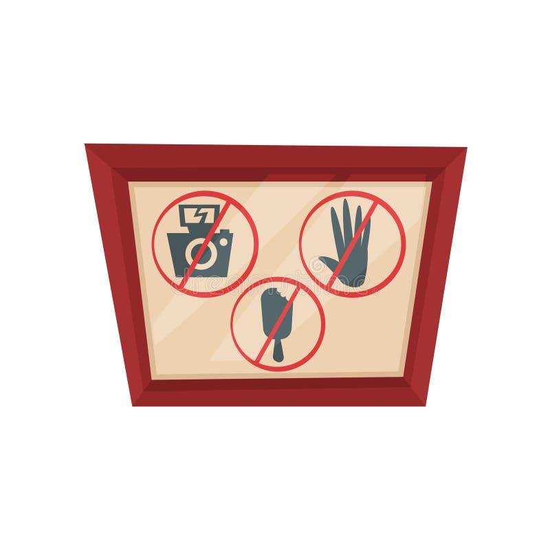 La imagen con las muestras de la prohibición pone la fotografía de t, pone el tacto de t, ninguna comida Silueta de la cámara, de ilustración del vector