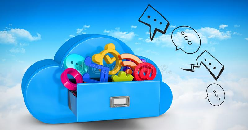 la imagen 3d de diversos iconos en nube formó el cajón libre illustration