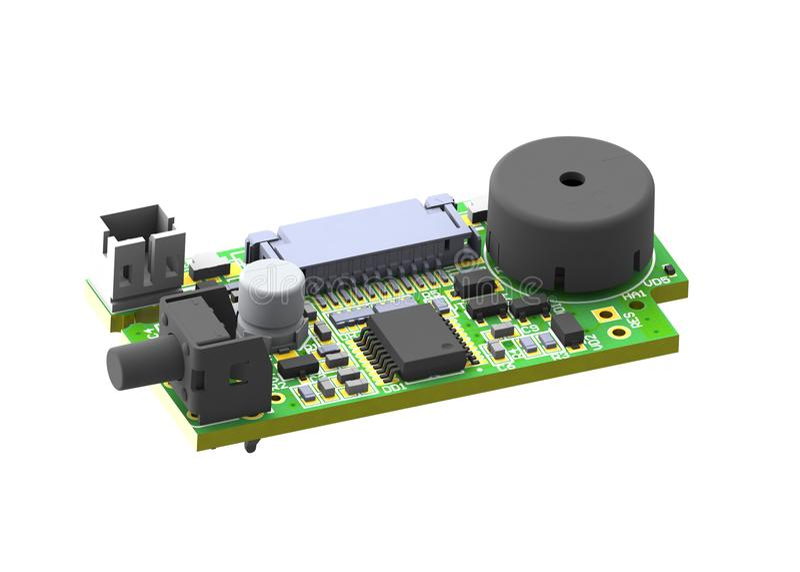 la imagen 3d de la placa de circuito impresa con los componentes, conectores abotona el microchip imagen de archivo
