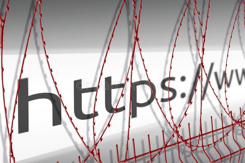La imagen de la barra de la dirección de la página web está bloqueando la cerca con el alambre de púas - concepto bloqueado de In ilustración del vector