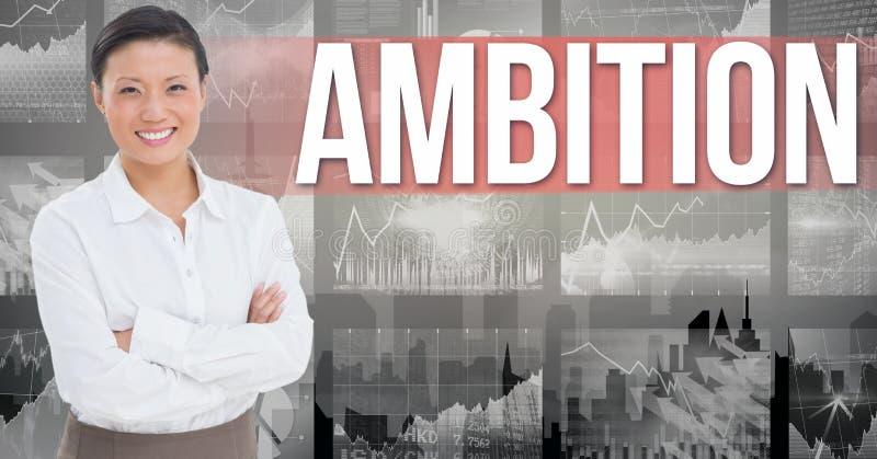 La imagen de Digitaces de la empresaria con los brazos cruzó la situación contra el texto y los gráficos de la ambición libre illustration