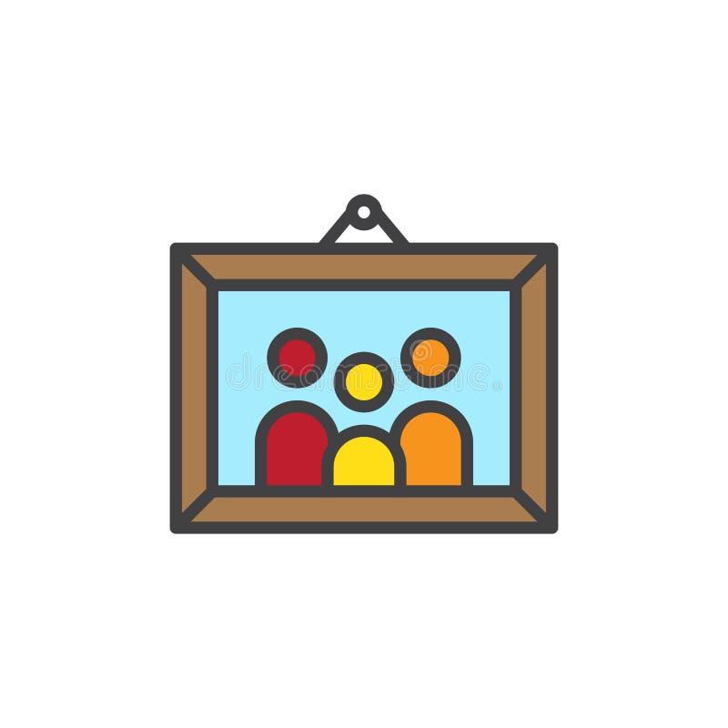 La imagen de la familia en marco de la foto llenó el icono del esquema libre illustration