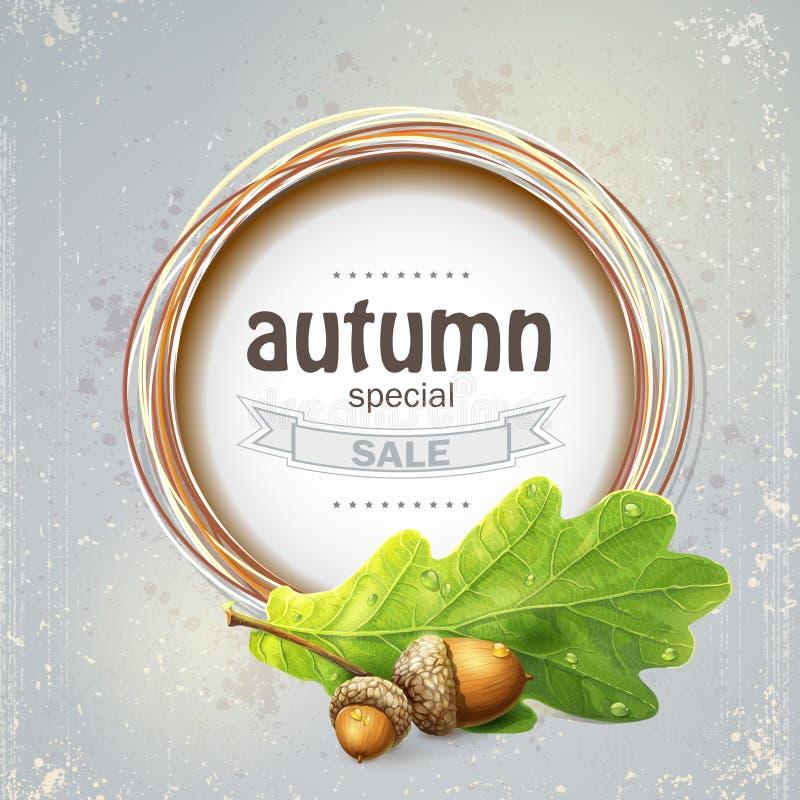 La imagen de fondo para la venta grande del otoño con el roble se va con las bellotas stock de ilustración