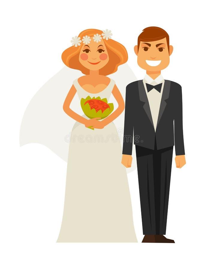 La imagen de la fotografía de la boda tiró la novia y al novio por los iconos planos del vector del fotógrafo stock de ilustración