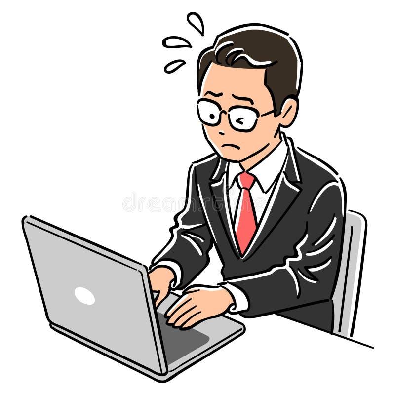 La imagen de un ordenador port?til de funcionamiento del hombre del encargado, impaciencia stock de ilustración