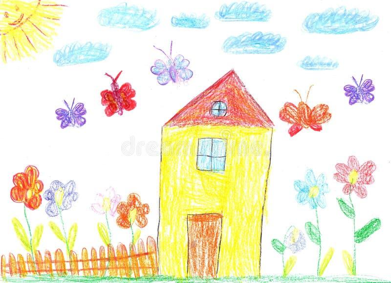 La imagen del dibujo del niño de una casa ilustración del vector
