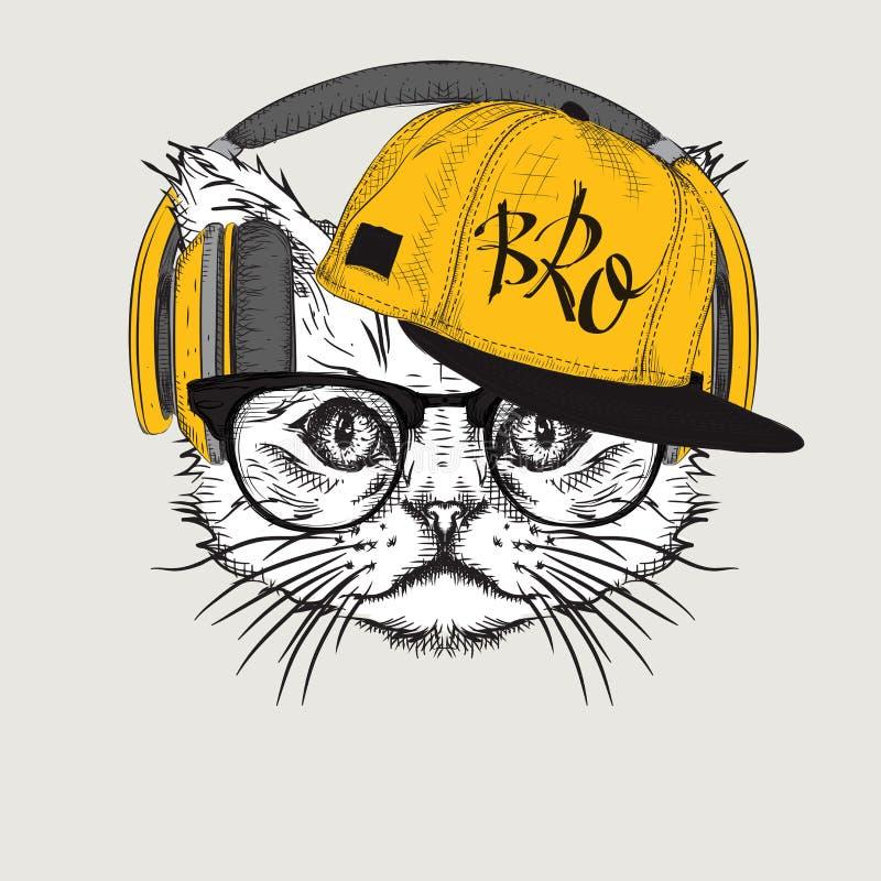 La imagen del gato en los vidrios, auriculares y en sombrero del hip-hop Ilustración del vector stock de ilustración