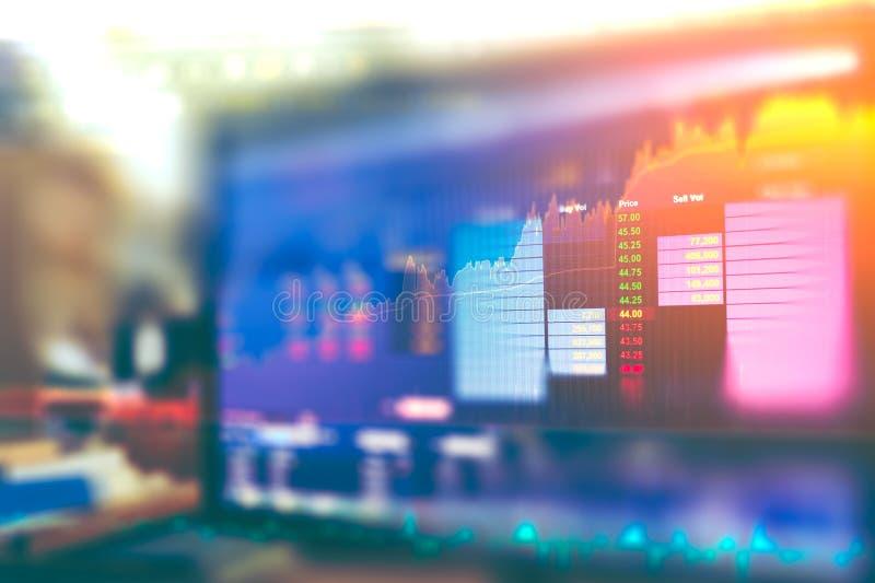La imagen del gráfico de negocio y del monitor del comercio de la inversión en el comercio del oro, mercado de acción, mercado a  imagen de archivo