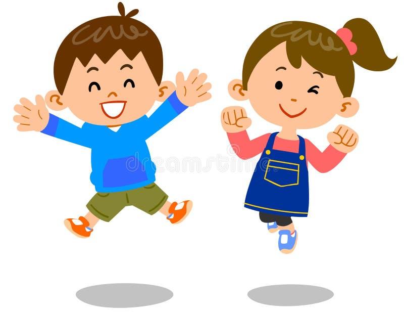 La imagen del salto de los muchachos y de las muchachas stock de ilustración