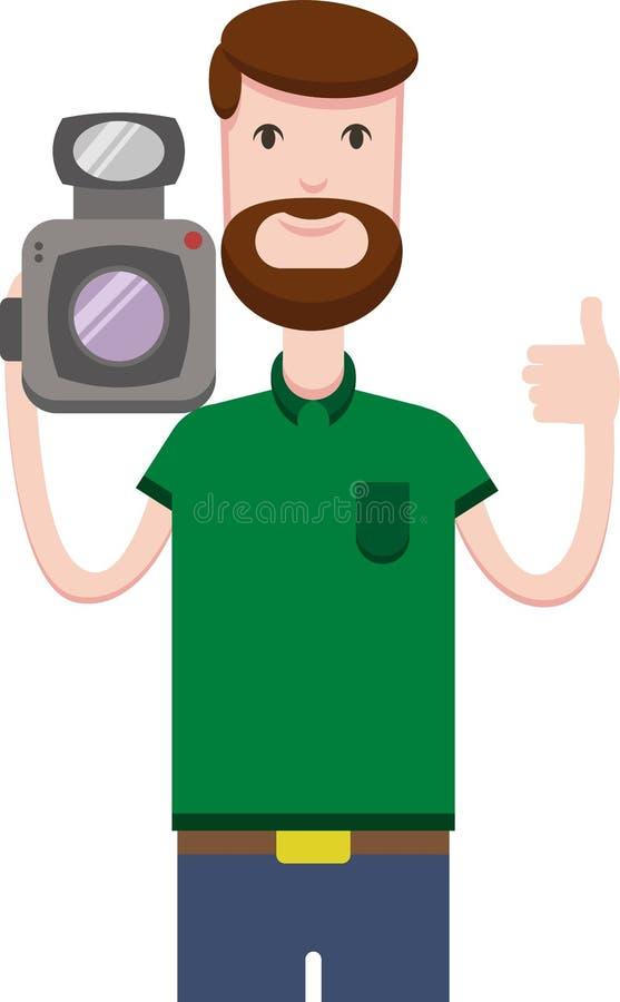 La imagen del vector del hombre con la barba sostiene la cámara de vídeo ilustración del vector