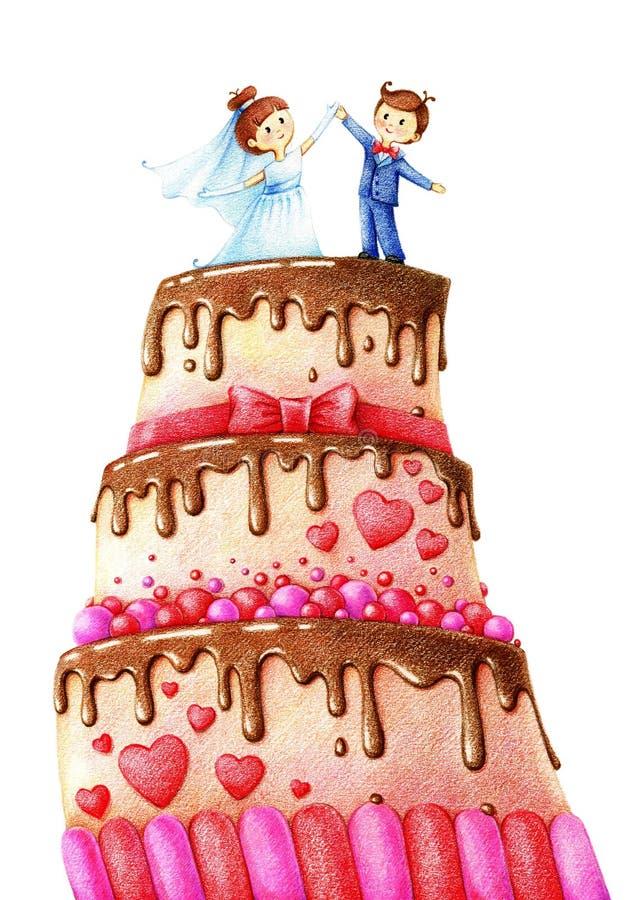 La imagen dibujada las manos del pastel de bodas con el chocolate esmalta, novio y prometido stock de ilustración