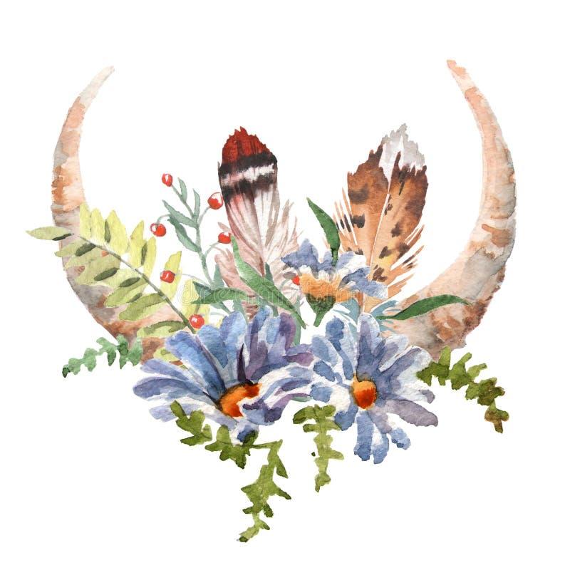 La imagen elegante del boho de la acuarela florece, las plumas, elementos animales stock de ilustración
