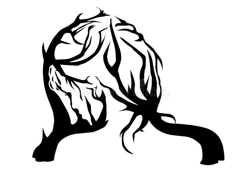 La imagen es una ilusión, la muchacha y el árbol, la composición muy interesante y hermosa de dos imágenes en una ilustración del vector