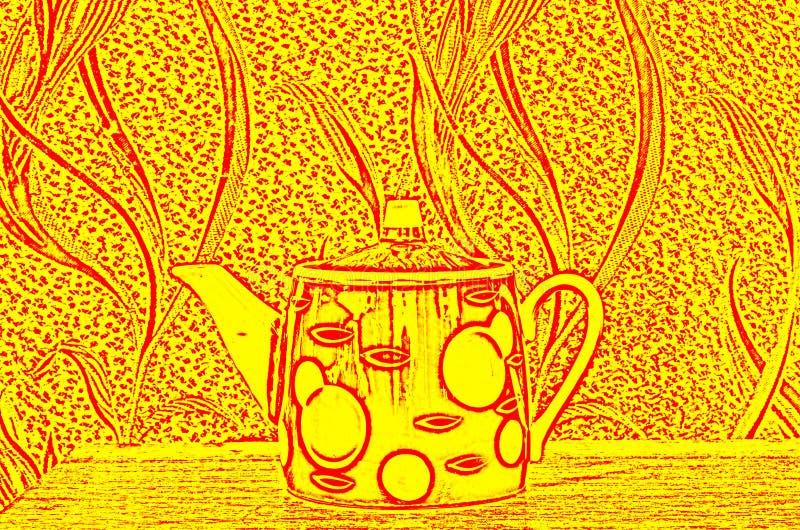 La imagen esquemática de la caldera en el fondo de un modelo abstracto imágenes de archivo libres de regalías