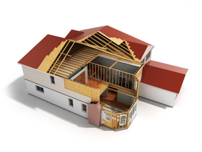 la imagen tridimensional 3d de la casa de la estructura rinde en el backgroun blanco libre illustration