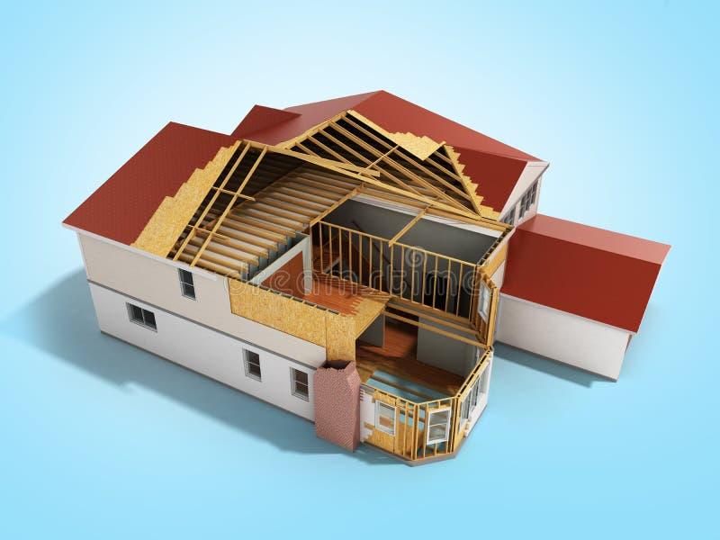 La imagen tridimensional 3d de la casa de la estructura rinde en fondo azul ilustración del vector