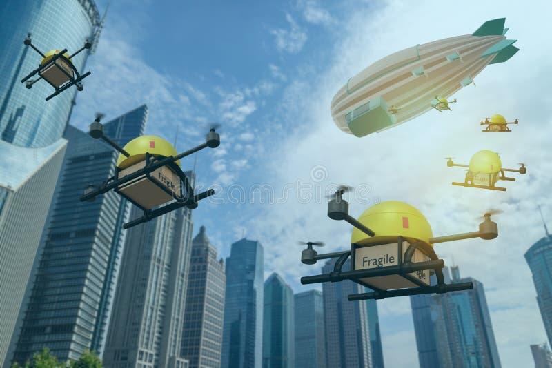 La implementación de drones desde blimp lleva paquetes a los clientes con el paquete en poco tiempo, incluyendo medicinas, alimen imagen de archivo libre de regalías