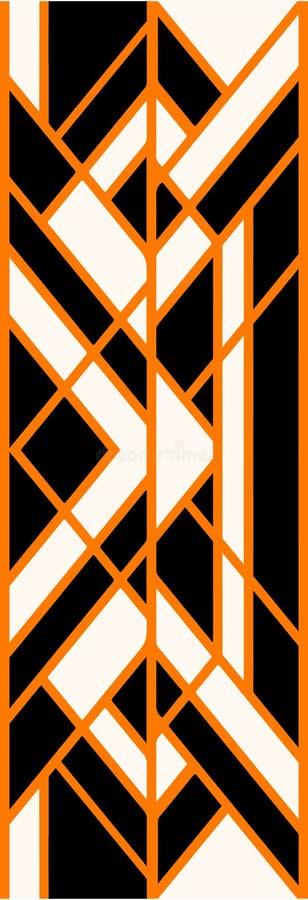La impresión abstracta con la naranja cruzó líneas en fondo negro fotografía de archivo libre de regalías