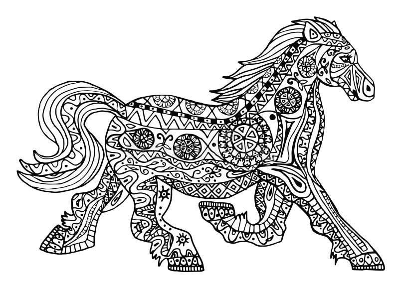 La impresión blanco y negro del caballo con los modelos étnicos del zentangle libre illustration