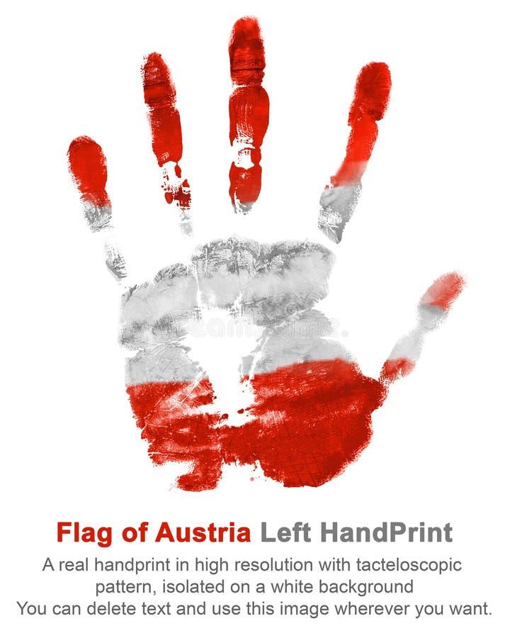 La impresión de la mano izquierda en colores de la bandera de Austria en blanco aisló el fondo libre illustration