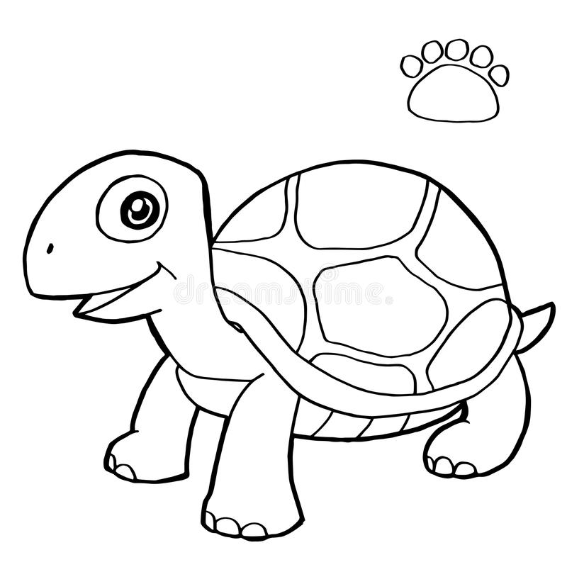 La impresión de la pata con el colorante de la tortuga pagina vector stock de ilustración