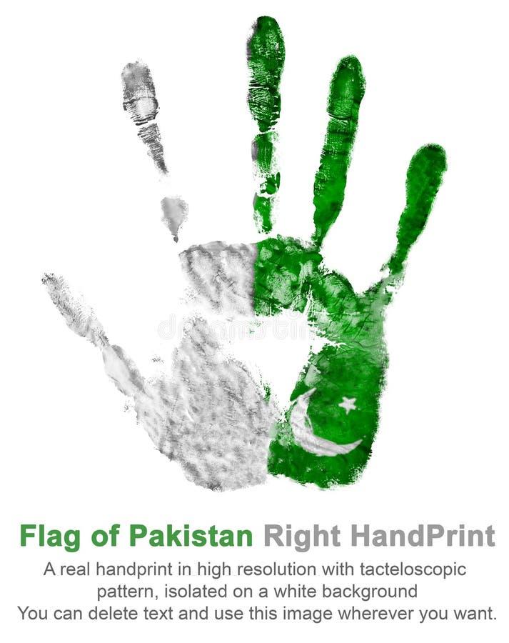 La impresión de la mano derecha en los colores de la bandera de Paquistán Verde y blanco reales del aguazo del handprint stock de ilustración