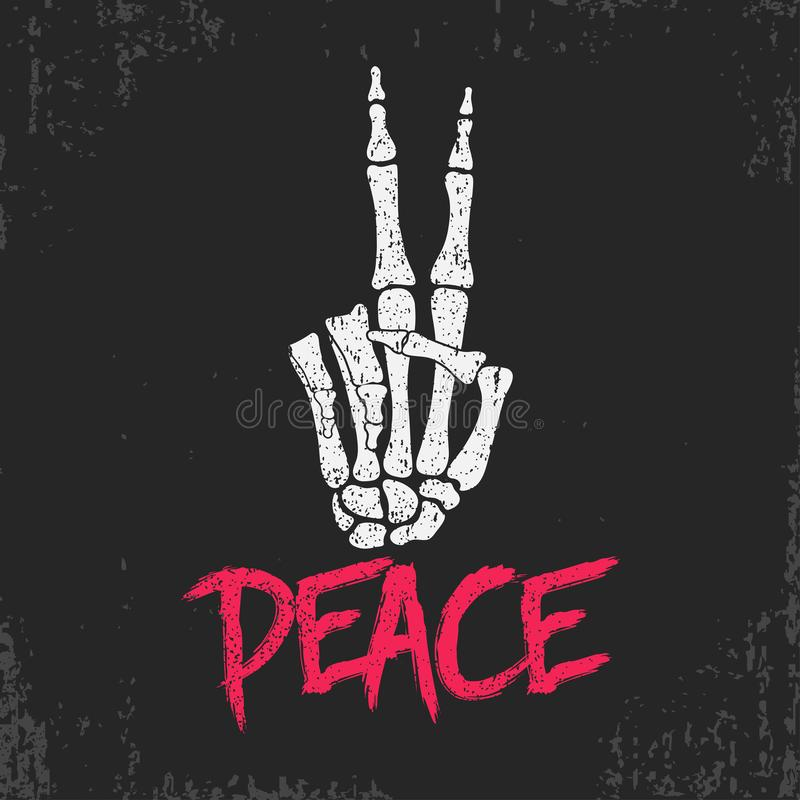 La impresión de la muestra del gesto de la paz con el esqueleto deshuesa la mano Diseño del vintage para la camiseta, ropa, ropa  ilustración del vector
