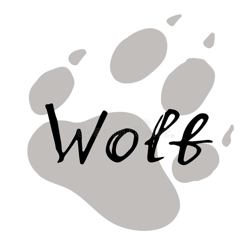 La impresión de la pata de un lobo stock de ilustración
