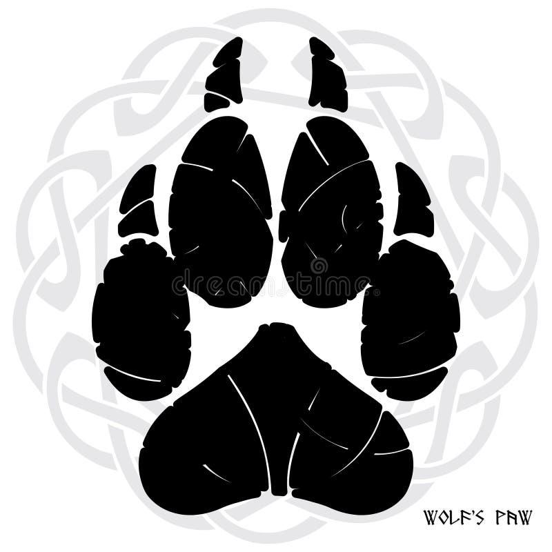 La impresión de la pata de un lobo En el contexto del ornamento Nórdico-céltico libre illustration