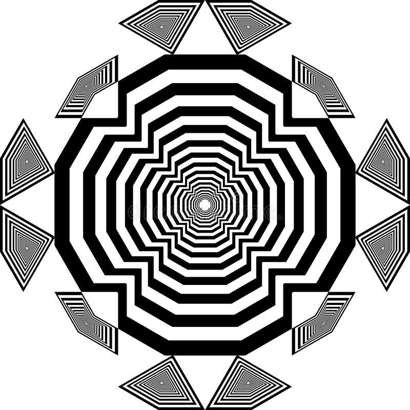 La impresión del arabesque del dial de reloj inspiró el ejemplo cortado abstracto del art déco de la estructura ilustración del vector