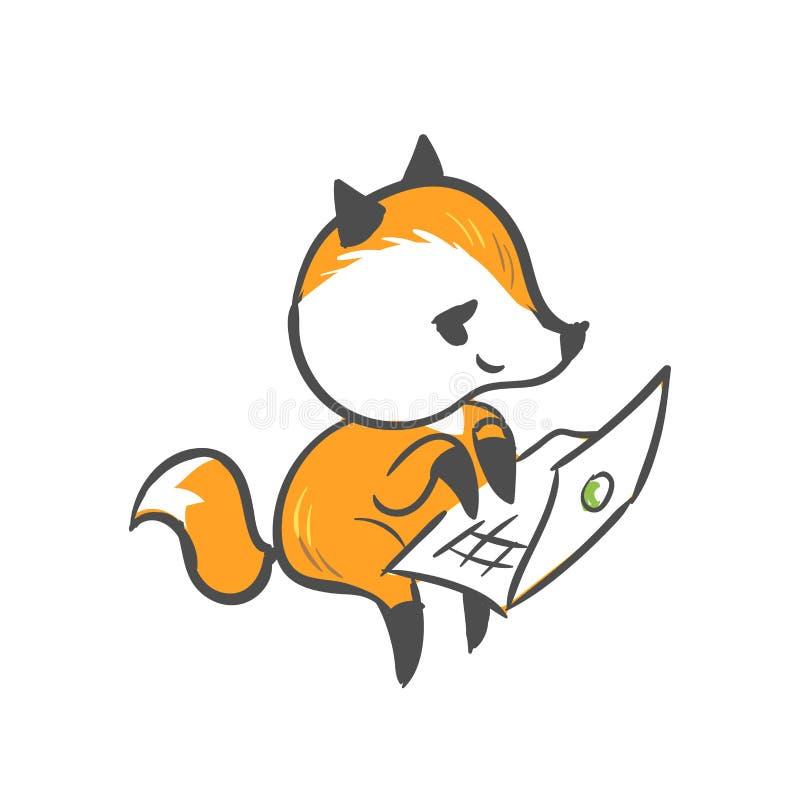 La impresión del ordenador portátil del bebé del zorro del carácter del vector aisló libre illustration