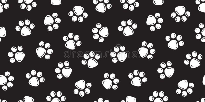 La impresión del pie del vector de la pata de Paw Seamless Pattern Cat del perro aisló la burbuja del contexto del fondo del pape ilustración del vector