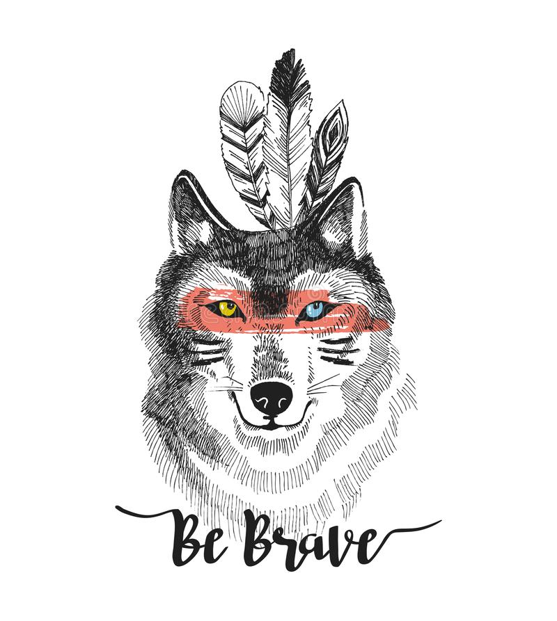 La impresión dibujada mano con el ` del lobo y de las letras sea valiente ` Diseño del ejemplo del vector de Boho para la camiset libre illustration