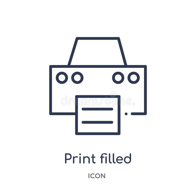 la impresión llenó el icono de la herramienta del interfaz de la colección del esquema de la interfaz de usuario La línea fina im ilustración del vector