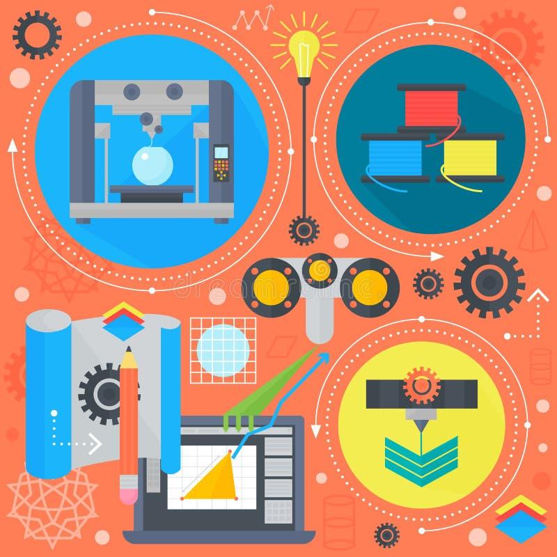 la impresión plana del concepto 3d y 3d de la tecnología 3d que explora infographics plano de los iconos diseña los elementos del stock de ilustración