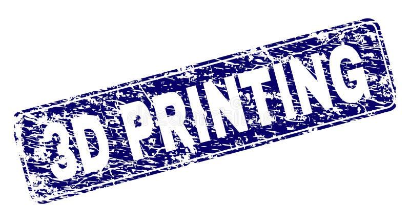 La IMPRESIÓN rasguñada 3D enmarcó el sello redondeado del rectángulo libre illustration